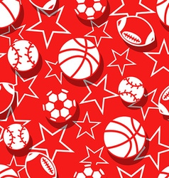 Sports balls in red and white seamless pattern vector