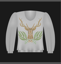 Sweatshirt template with deer vector