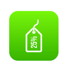 tag with 25 discount icon digital green vector image