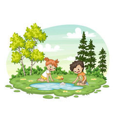 Two children play with a boat by al lake vector