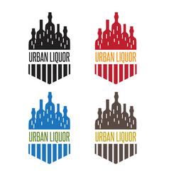 Urban liquor set bottles with windows vector