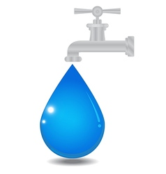 Water faucet with drop vector