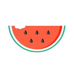 Watermelon slice with bite mark vector