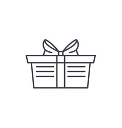 wrapped gift basket line icon concept wrapped vector image