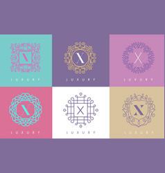 x letter pastel floral monogram lines logo design vector image