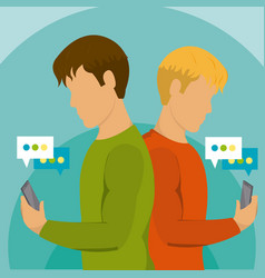 Young mens using smartphone vector