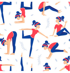 young woman practicing various asana poses vector image