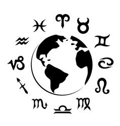 zodiac symbols and Earth silhouette vector image