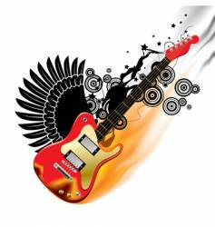 bass guitar in flames vector image