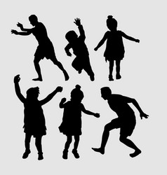 People happy playing silhouette vector