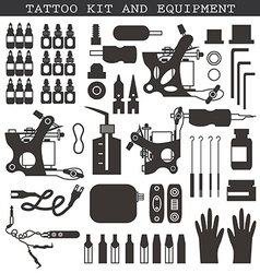 Tattoo kit and equipment vector image
