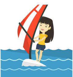 young woman windsurfing in the sea vector image vector image