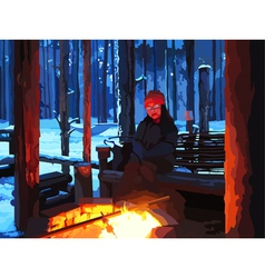 Cartoon man sitting by the fire in winter forest vector image vector image