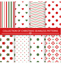 collection of christmas seamless patterns vector image