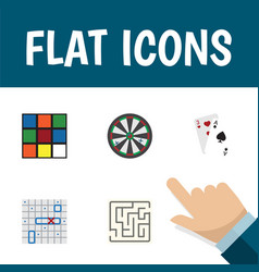 flat icon play set of cube sea fight ace and vector image