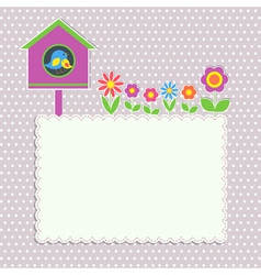 Frame with birdhouse vector image vector image