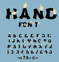 Hand font pointing finger alphabet businessman arm vector