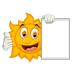 Happy sun cartoon thumb up with blank sign vector