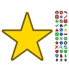 Star symbol with toolbar icon set vector