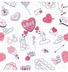 Valentine doodles seamless pattern vector image vector image