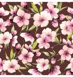 Watercolor sakura pattern vector image