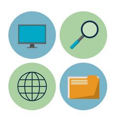 big data technology icons vector image