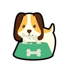 dog little pet domestic bowl food b print vector image