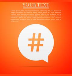 Hashtag in circle icon on orange background vector