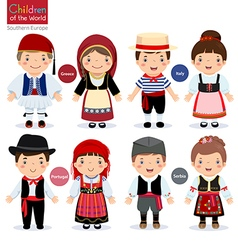 Kids in different traditional costumes vector image vector image