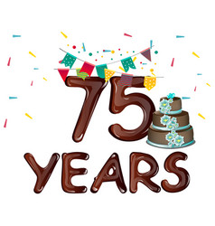 75 anniversary with flags and cake vector image