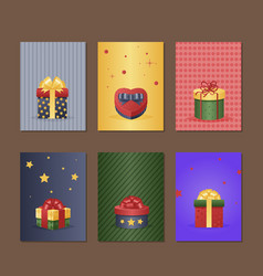 gift box greeting card with present vector image vector image