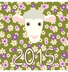 Retro card with cartoon sheep and flowers for vector image