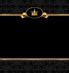 Vintage black background with golden frame vector