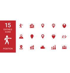 15 position icons vector image