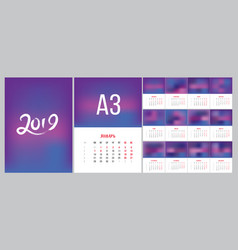 2019 russian new year calendar template simple vector
