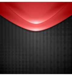 Abstract red waves design Tech background vector