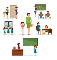Admission to school meeting with classmates vector