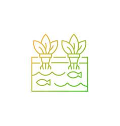 Aquaponics gradient linear icon vector