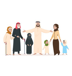 Arab family muslim mother and father happy kids vector