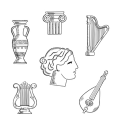 Art and musical instruments sketches vector image