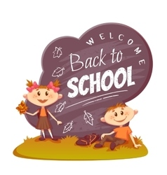 Back to school poster Schoolboy and schoolgirl vector