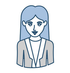 Blue silhouette with half body of woman with vector