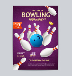 Bowling tournament poster card template vector