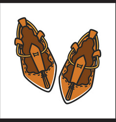 bulgarian traditional ethnic woman shoes tsarvuli vector image