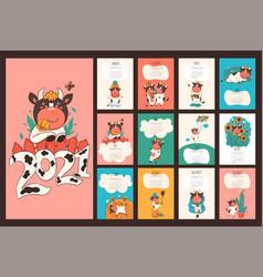 Calendar or planner 2021 kawaii cartoon ox vector