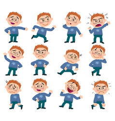Cartoon character white boy with glasses set vector