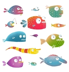 Cartoon Fish Collection for Kids Design vector image