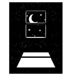 cartoon of crescent horned moon and stars shining vector image