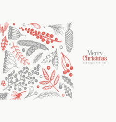 Christmas banner template hand drawn greeting vector