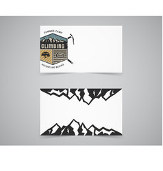 Clean business card template mountain adventure vector